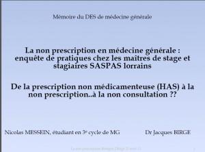 La non prescription en médecine générale