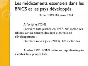 Médicaments essentiels dans les Brics et les pays développés M Thomas