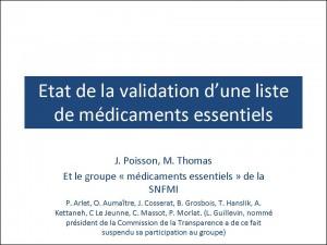 Validation d'une liste de médicaments essentiels J Poisson